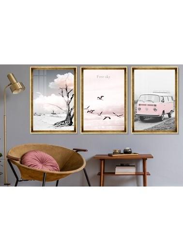 Çerçeve Home   Pink Wv Decorative Gold Çerçeve Tablo Seti Altın